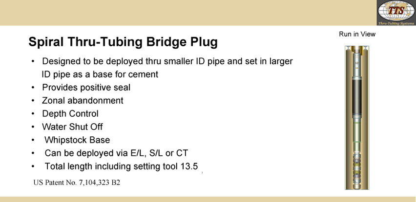Spiral Thru-Tubing Bridge Plug