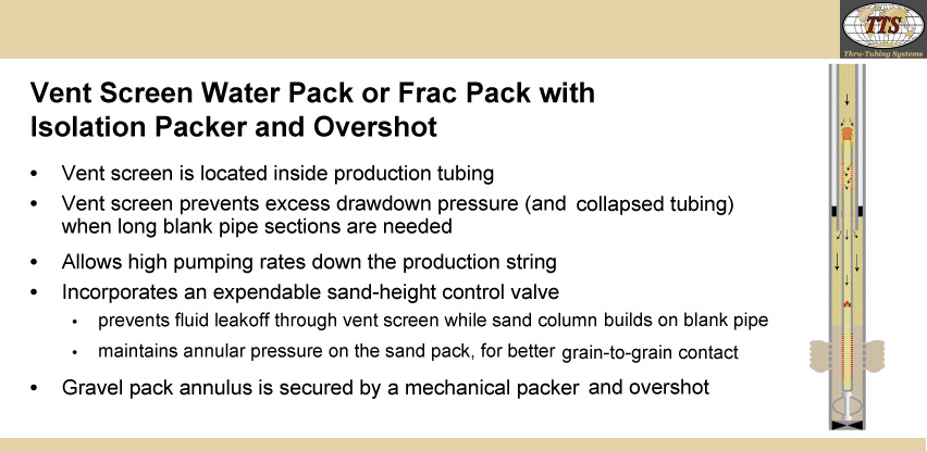 Vent Screen Water Pack or Frac Pack with Isolation Packer and Overshot
